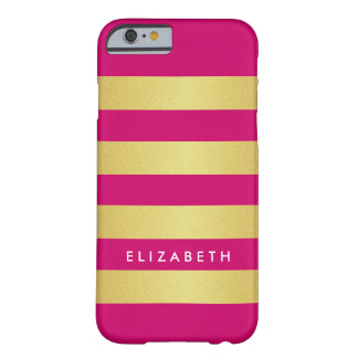 Trendy Girly Pink and Gold Stripes Striped Barely There iPhone 6 Case