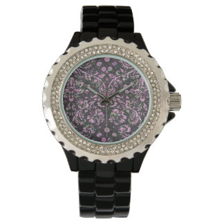 Trendy Girly Pink Floral Damask  Glitter Print Wrist Watches