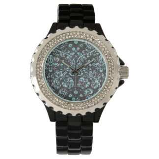 Trendy Girly Teal Floral Damask  Glitter Print Watch