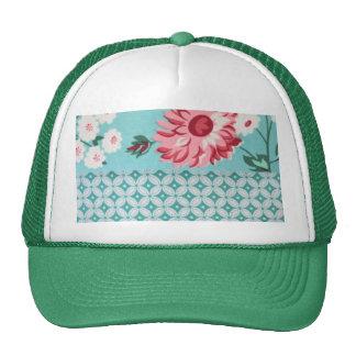 Trendy Girly Teal Floral Quatrefoil Pattern Trucker Hat