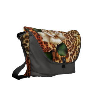 Trendy girly white rose leopard print fashion courier bag
