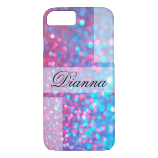 Trendy Glitter Of Blue and Pink iPhone 7 Case