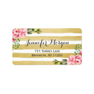 Trendy Gold and White Stripes Watercolor Floral