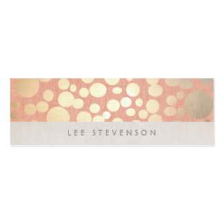 Trendy Gold Circles Peach Linen Look Mini Business Card