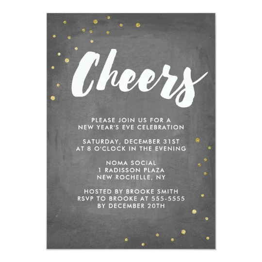 Trendy Gold Confetti Cheers New Year's Eve Party Card
