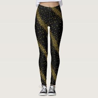 Trendy Gold Confetti Dots Black or Custom Color Leggings