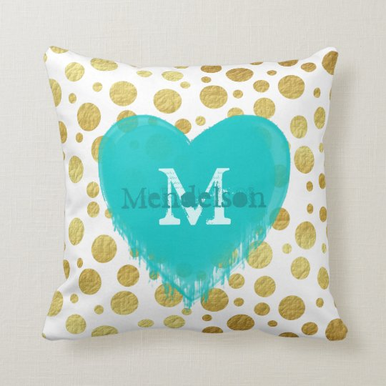 Trendy gold dots monogram throw pillow