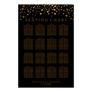 Trendy Gold Dots on Black - Seating Chart