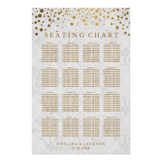 Trendy Gold Dots on Texture Damask - Seating Chart Poster