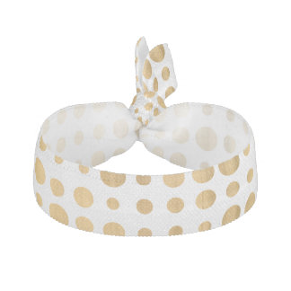Trendy gold faux leaf modern polka dots pattern hair tie