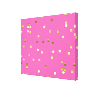 Trendy Gold Foil Confetti Hot Pink Canvas Print