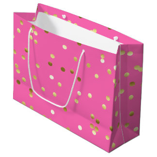 Trendy Gold Foil Confetti Hot Pink Large Gift Bag