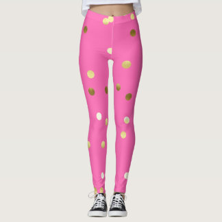 Trendy Gold Foil Confetti Hot Pink Leggings