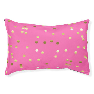 Trendy Gold Foil Confetti Hot Pink Pet Bed