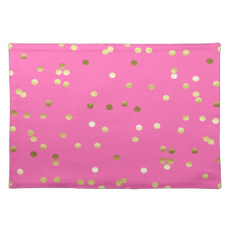 Trendy Gold Foil Confetti Hot Pink Placemat