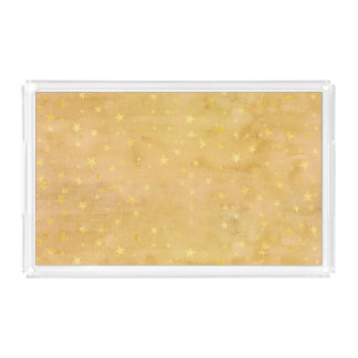 Trendy Gold Foil Stars Watercolor Perfume Tray