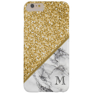 Trendy Gold Glitter Black White Marble Barely There iPhone 6 Plus Case