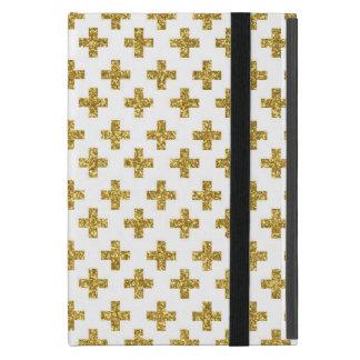 Trendy gold glitter cross pattern iPad mini cases