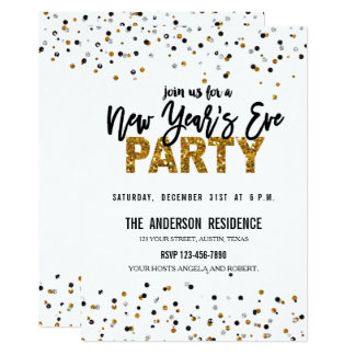 Trendy Gold Glitter New Year's Eve Party Invite