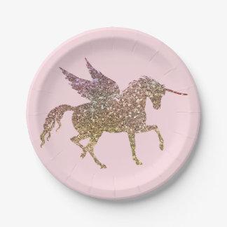 Trendy Gold Glitter Sparkle Unicorn Birthday Party Paper Plate