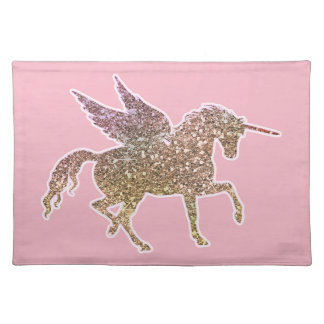Trendy Gold Glitter Sparkle Unicorn Pegasus Horse Placemat