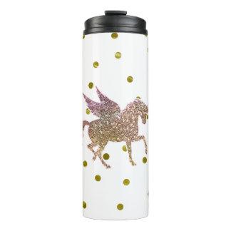 Trendy Gold Glitter Sparkle Unicorn Pegasus Horse Thermal Tumbler