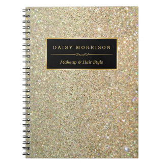 Trendy Gold Glitter Sparkles Makeup Beauty Salon Notebooks