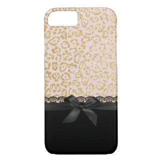 Trendy Gold Leopard Print Chic Black Lace & Ribbon iPhone 8/7 Case