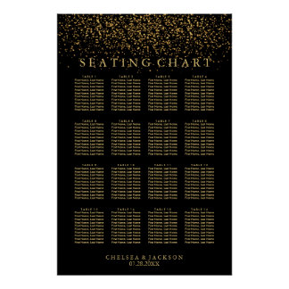 Trendy Gold Light on Black - Seating Chart Poster