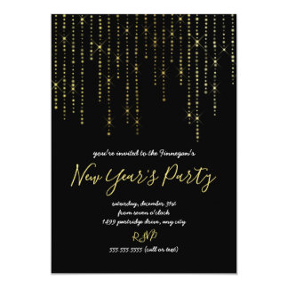 Trendy Gold Lights New Year's Eve Party invite