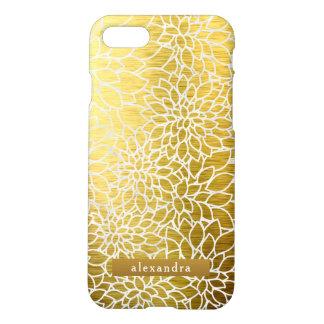 Trendy Gold Metallic Flowers Pattern iPhone 8/7 Case