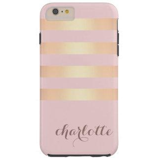 Trendy Gold Metallic Stripes Pink Toned Tough iPhone 6 Plus Case