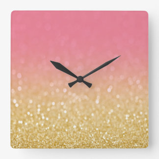 Trendy Gold Pink Ombre Glitter Wall Clock