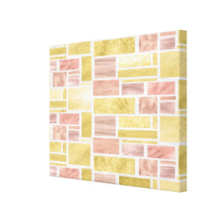 Trendy Gold Rose Gold Foil Blocks Canvas Print