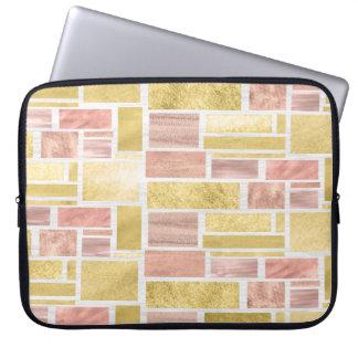 Trendy Gold Rose Gold Foil Blocks Laptop Sleeve