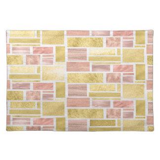 Trendy Gold Rose Gold Foil Blocks Placemat