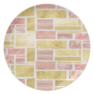 Trendy Gold Rose Gold Foil Blocks Plate