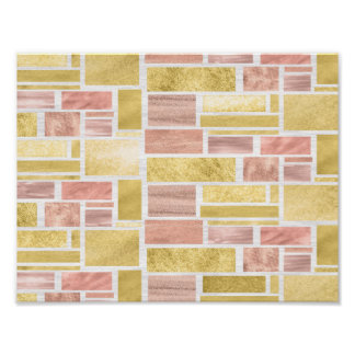Trendy Gold Rose Gold Foil Blocks Poster