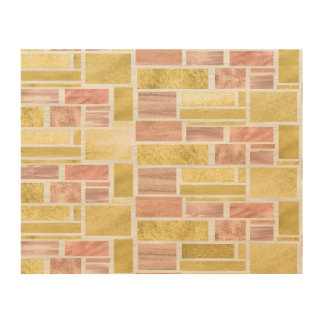 Trendy Gold Rose Gold Foil Blocks Wood Canvas