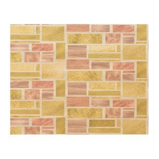 Trendy Gold Rose Gold Foil Blocks Wood Print