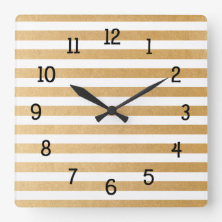 Trendy Gold Stripes, you change background color Square Wall Clock