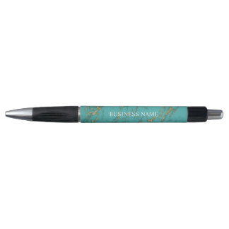 Trendy Gold & Turquoise Marble Modern Pen