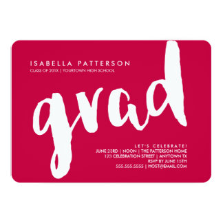 Trendy Grad White | Red Graduation Invitation
