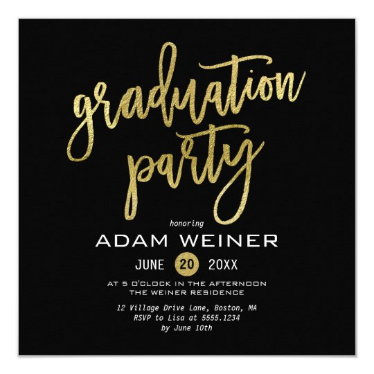 Trendy Graduation Party Invitation Faux Gold