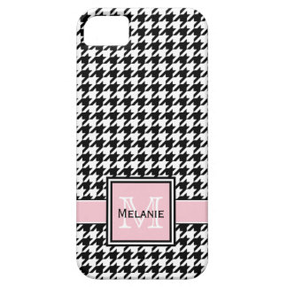 Trendy Graphic Houndstooth with Custom Monogram iPhone 5 Covers