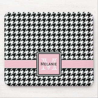 Trendy Graphic Houndstooth with Custom Monogram Mouse Pad