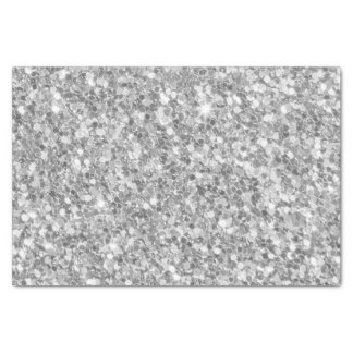 Trendy Gray And White Sparkling Glitter Tissue Paper