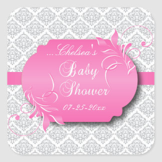 Trendy Gray Damask and Pink for a Baby Shower Square Sticker