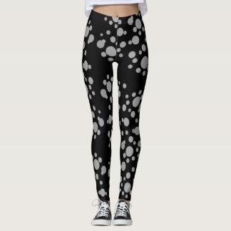 Trendy Gray Dots on Black - Leggings