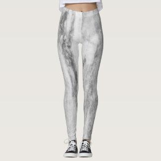 Trendy Gray Marble Print Leggings